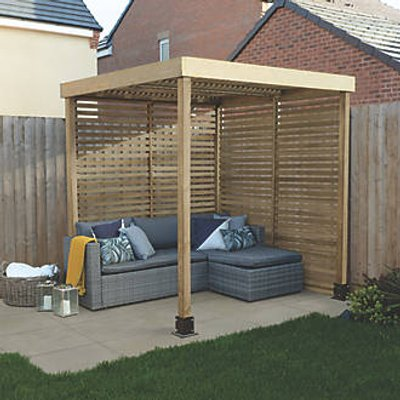 Forest  Pergola with 2 Side Infills Natural Timber 1970 x 1970 x 2045mm (308KT)