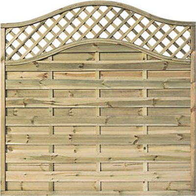 Rowlinson Grosvenor Double-Slatted Lattice Curved Top Fence Panel 6 x 6