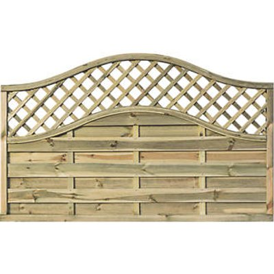 Rowlinson Grosvenor Double-Slatted Lattice Curved Top Fence Panel 6 x 4