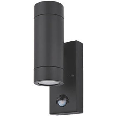 LAP Bronx Outdoor Up & Down Wall Light With PIR Sensor Black (3691R)