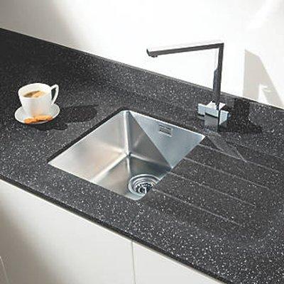 Metis  Black Sink Module with 1 Bowl Stainless Steel Sink 3050 x 620 x 15mm (376PH)