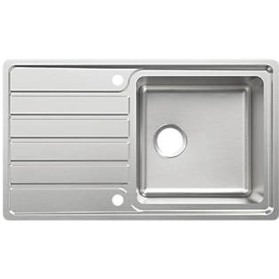 Cooke & Lewis Apollonia Kitchen Sink & Drainer Stainless Steel 1 Bowl 860 x 500mm (391FH)