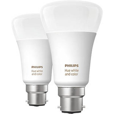 Philips Hue Ambiance Bluetooth LED A60 BC Smart Light Bulb Colour-Changing 60W 806Lm 2 Pack (412JY)
