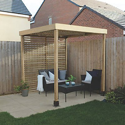 Forest  Pergola with 1 Side Infill Natural Timber 1970 x 1970 x 2045mm (468KT)