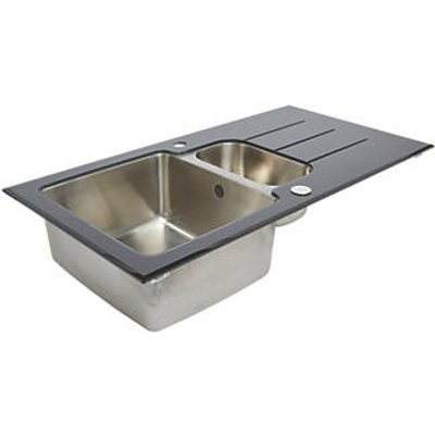 Stainless Steel & Glass Top Kitchen Sink & Drainer 1.5 Bowl Reversible 950 x 500mm (4784K)