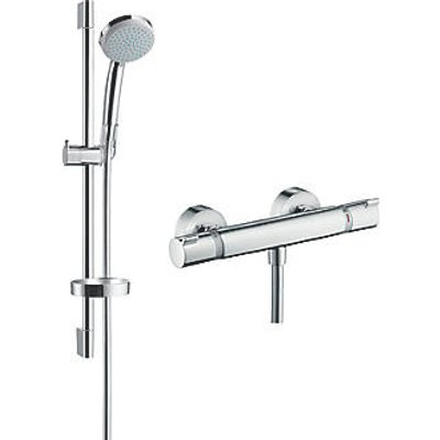 Hansgrohe Croma 100 HP Rear-Fed Exposed Chrome Thermostatic Mixer Shower (481JX)