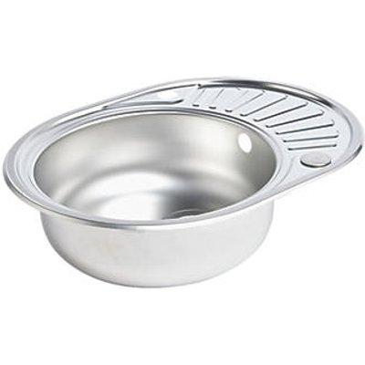 Spacesaver Round Kitchen Sink & Drainer Stainless Steel 1 Bowl 570 x 450mm (4902K)
