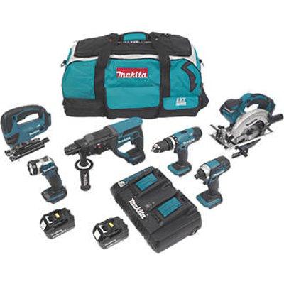 Makita DLX6068PT 18V 5.0Ah Li-Ion LXT Cordless 6-Piece Power Tool Kit (5410V)