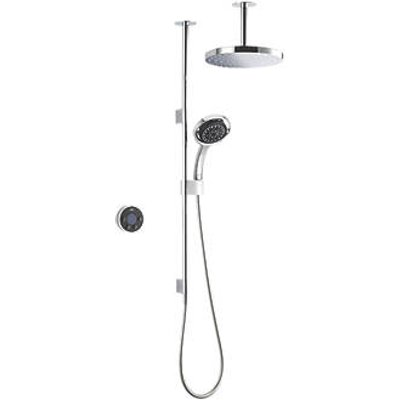 Mira Platinum Dual HP/Combi Ceiling-Fed Dual Outlet Black / Chrome Thermostatic Wireless Digital Mixer Shower (550HR)