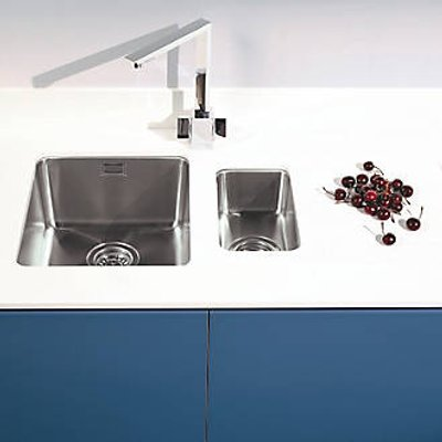 Metis  White Sink Module with 1.5 Bowl Stainless Steel Sink 3050 x 620 x 15mm (563PH)