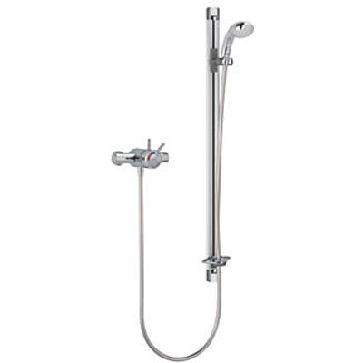 Mira Select Flex Rear-Fed Exposed Chrome/Brushed Chrome Thermostatic Mixer Shower (5965G)