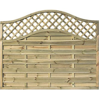 Rowlinson Grosvenor Double-Slatted Lattice Curved Top Fence Panel 6 x 5