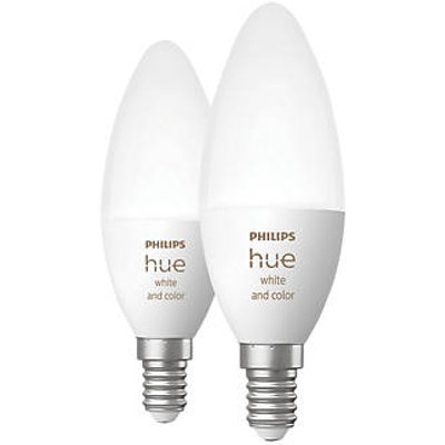 Philips Hue Ambiance Bluetooth LED Candle SES Smart Light Bulb Colour-Changing 40W 470Lm 2 Pack (606KJ)