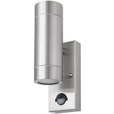 LAP Bronx Outdoor Up & Down Wall Light With PIR Sensor Stainless Steel (6213R)