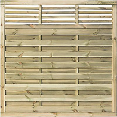Rowlinson Langham Double-Slatted Open-Bar Top Fence Panel 6 x 6
