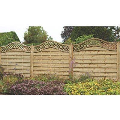 Forest Prague Lattice Curved Top Fence Panels 6 x 6