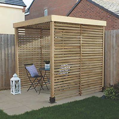 Forest  Pergola with 3 Side Infills Natural Timber 1970 x 1970 x 2045mm (675KT)