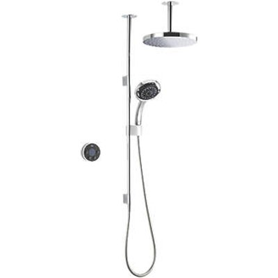 Mira Platinum Dual Gravity-Pumped Ceiling-Fed Dual Outlet Black / Chrome Thermostatic Wireless Digital Mixer Shower (678HR)