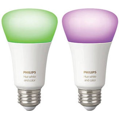 Philips Hue White & Colour Ambience LED GLS ES Smart Bulb Colour-Changing 9.5W 806Lm 2 Pack (711CF)