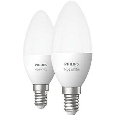 Philips Hue Bluetooth LED Candle ES Smart Light Bulb Warm White 40W 806Lm 2 Pack (717HY)