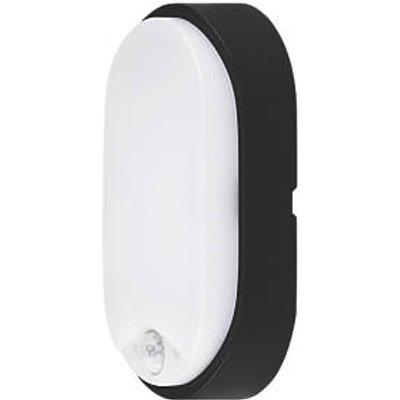 Luceco Eco Oval LED Decorative Bulkhead With PIR Sensor Black / White 10W (749JK)