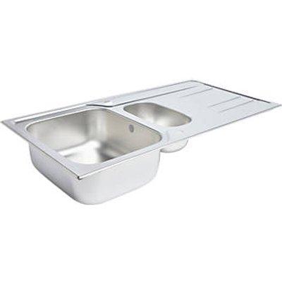 Kitchen Sink & Drainer Stainless Steel 1.5 Bowl 1000 x 500mm (7588K)