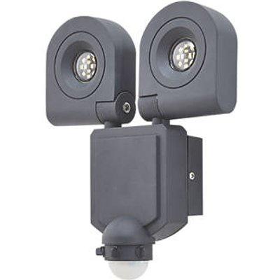 LAP DRYDEN Outdoor LED Twin Floodlight With PIR Sensor Black 2 x 10W 2 x 800lm (771CC)