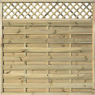Rowlinson Halkin Double-Slatted Lattice Top Fence Panel 6 x 6