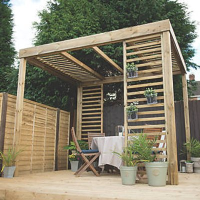 Forest Dining Pergola Natural Timber 3036 x 2436 x 2797mm (8187F)