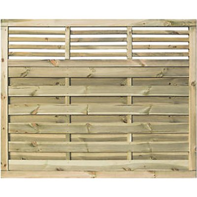 Rowlinson Langham Double-Slatted Open-Bar Top Fence Panel 6 x 5