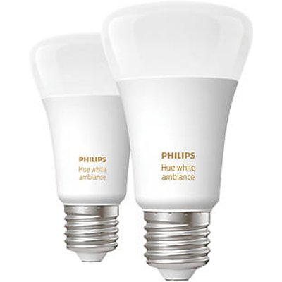 Philips Hue Ambiance Bluetooth LED A60 ES Smart Light Bulb Warm White / Cool White 60W 806Lm 2 Pack (846HY)