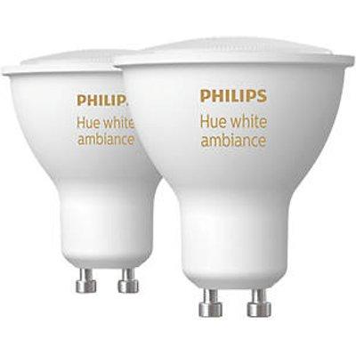 Philips Hue Ambiance Bluetooth LED GU10 Smart Light Bulb Warm White / Cool White 50W 350Lm 2 Pack (853HY)
