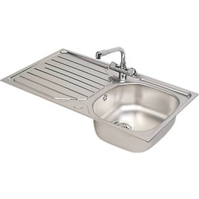 Franke Reno / Danube Stainless Steel Inset Sink & Mixer Tap 1 Bowl 860 x 500mm (8700V)