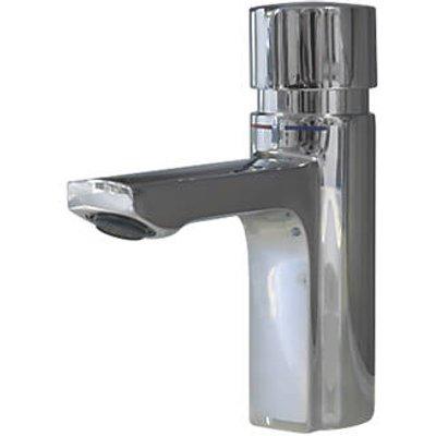 Franke F5S-Mix Self-Closing FRAMIC Non-Concussive Commercial Bathroom Pillar Mixer Tap Chrome (889HX)
