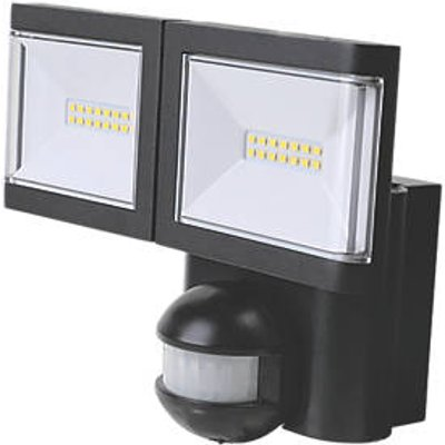 LAP Twin Indoor & Outdoor LED Floodlight With PIR Sensor Black 2 x 10W 2 x 900lm (9100V)