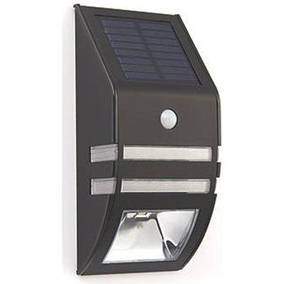 LAP Solar Outdoor LED Solar Bulkhead With PIR Sensor Matt Black 40lm (9162F)