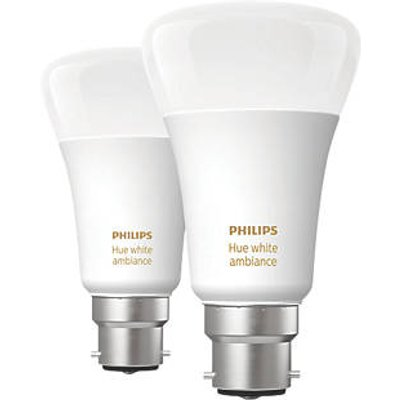Philips Hue Ambiance Bluetooth LED A60 BC Smart Light Bulb Warm White / Cool White 60W 806Lm 2 Pack (916HY)