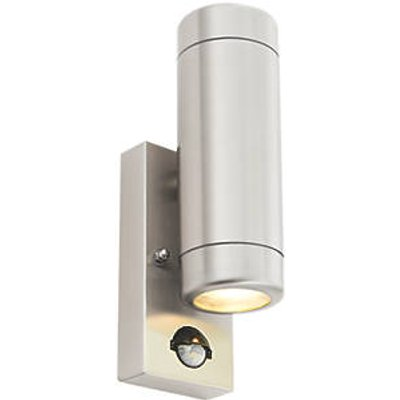 Barracuda Outdoor Up & Down Wall Light With PIR Sensor Brushed Stainless Steel (9239T)