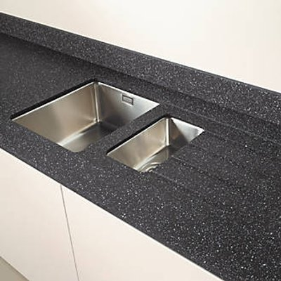 Metis  Black Sink Module with 1.5 Bowl Stainless Steel Sink 3050 x 620 x 15mm (956PH)