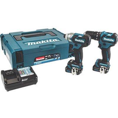 Makita CLX205AJ 10.8V 2.0Ah Li-Ion CXT Brushless Cordless Combi Drill & Impact Driver Twin Kit (959FG)