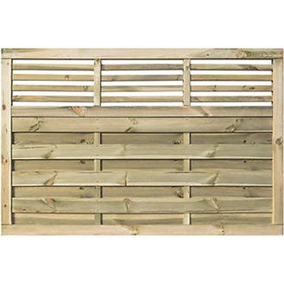Rowlinson Langham Double-Slatted Open-Bar Top Fence Panel 6 x 4