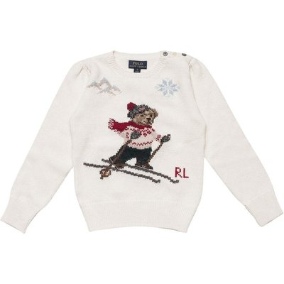 Polo Ralph Lauren, Round Necked Sweater with Bear Weiß, Größe: 12y | RALPH LAUREN SALE