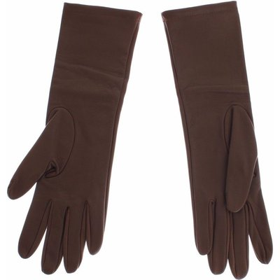 Dolce & Gabbana, Leather Wrist Slim Gloves Braun, Größe: S | DOLCE & GABBANA SALE