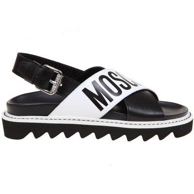 Moschino, Sandale mit gekreuzten Bändern und Logo Schwarz, Größe: 41 | MOSCHINO SALE