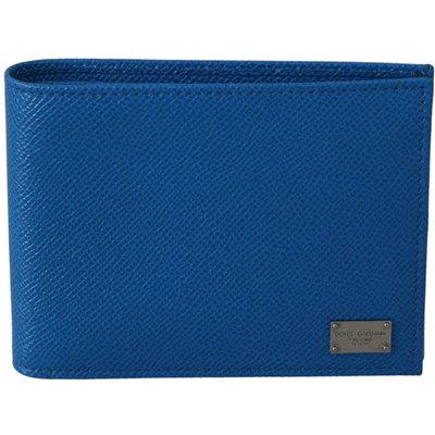Dolce & Gabbana, Bifold Card Holder Bill Slot Leather Wallet Blau, Größe: One size | DOLCE & GABBANA SALE
