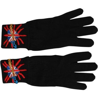 Dolce & Gabbana, Loves London Embroidered Wool Gloves Schwarz, Größe: One size | DOLCE & GABBANA SALE