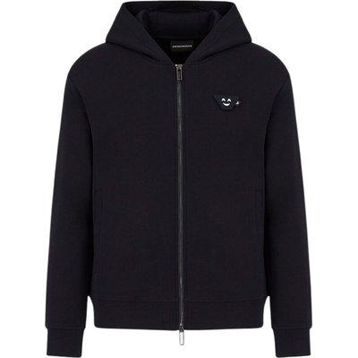 Emporio Armani, Felpa con zip e cappuccio patch Emoji Blau, Größe: XL | EMPORIO ARMANI SALE