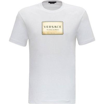 Versace, Logo-bedrucktes T-Shirt Weiß, Größe: S | VERSACE SALE