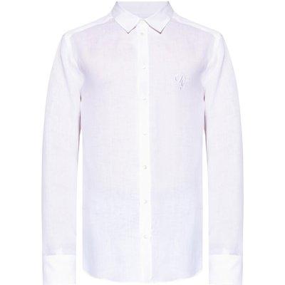 Dolce & Gabbana, Leinenhemd mit Logo Weiß, Größe: 44   DOLCE & GABBANA SALE