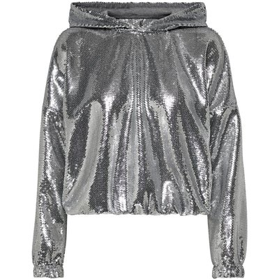 ONLY Pailletten Sweatshirt Silber
